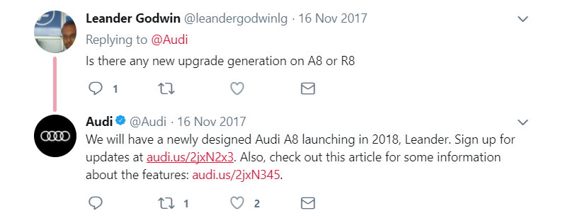 Image of Audi's tweet to the buyer