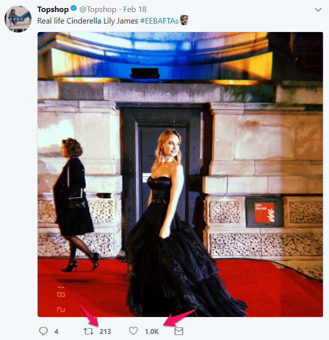 Tweet of Topshop during the #EEBAFTAs
