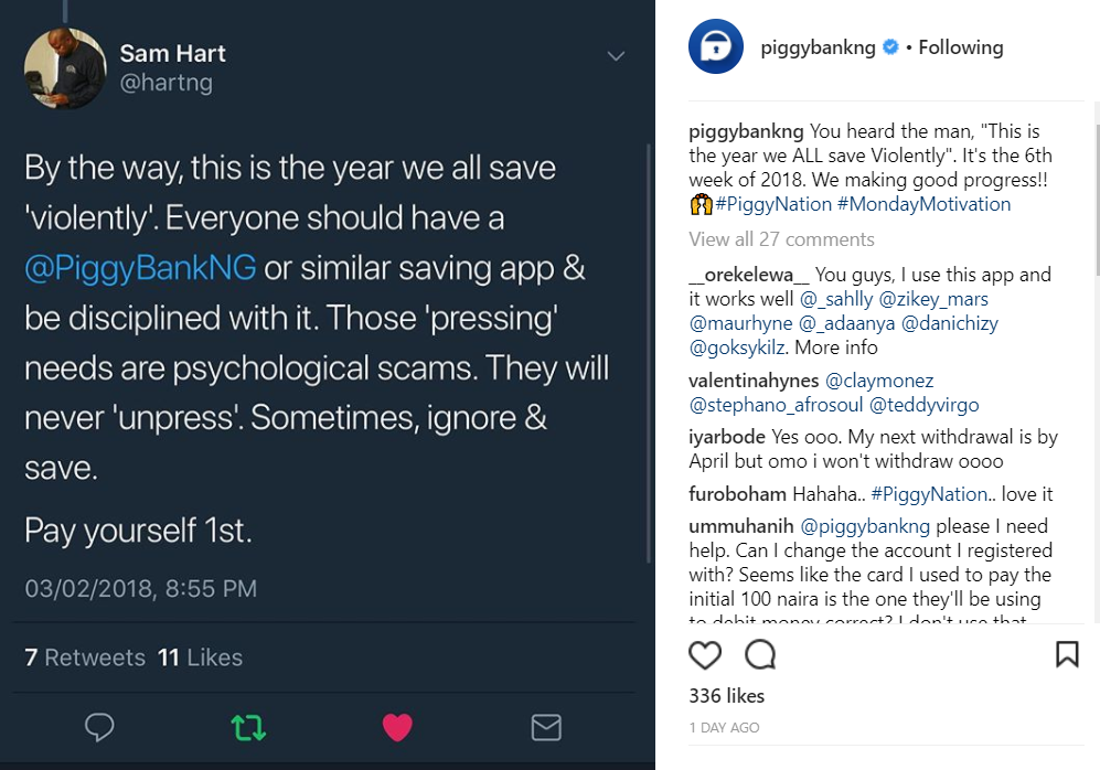 Image of Sam Hart tweeting about 'Saving Violently' using Piggybank