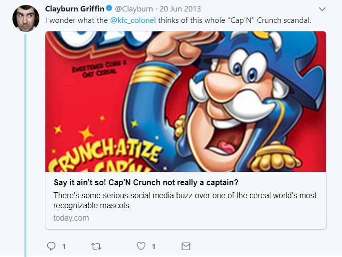 Tweet about Cap'n Crunch by Clayburn Griffin