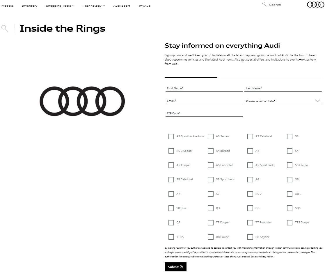 Image of Audi Landing Page