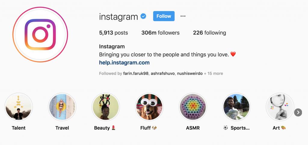 a screenshot of instagram's instagram profile. instagram business profile screenshot.