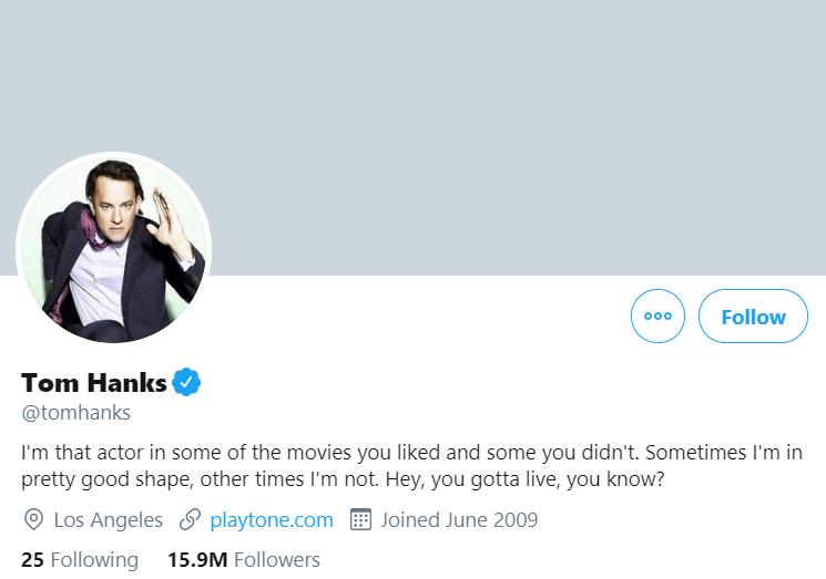 An image of Tom Hanks' Twitter profile.