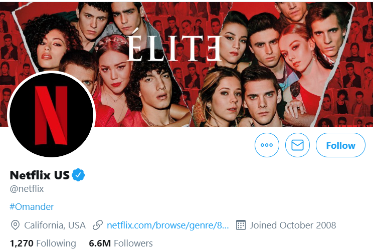 Netflix's Twitter Profile, showcasing their new show Elite.
