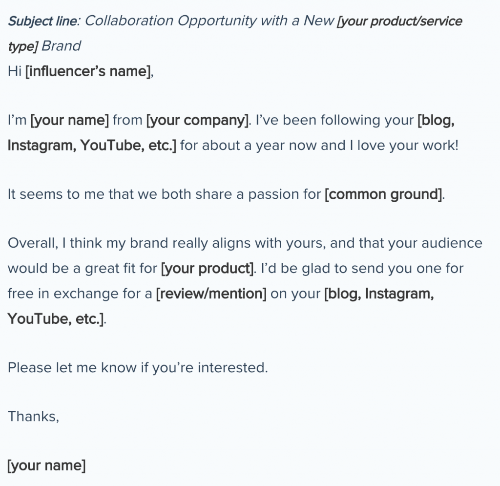 An email example of a template, used for product gifting, a form of instagram influencer marketing.