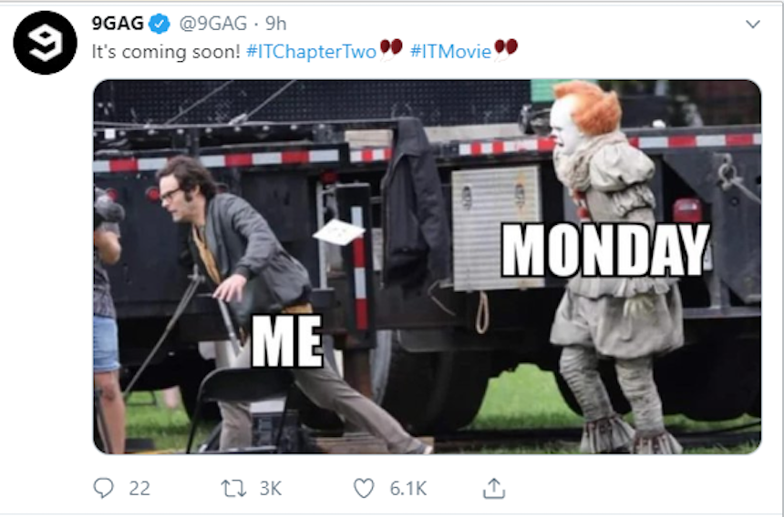 A screenshot of one of 9GAG's tweets, a funny meme.
