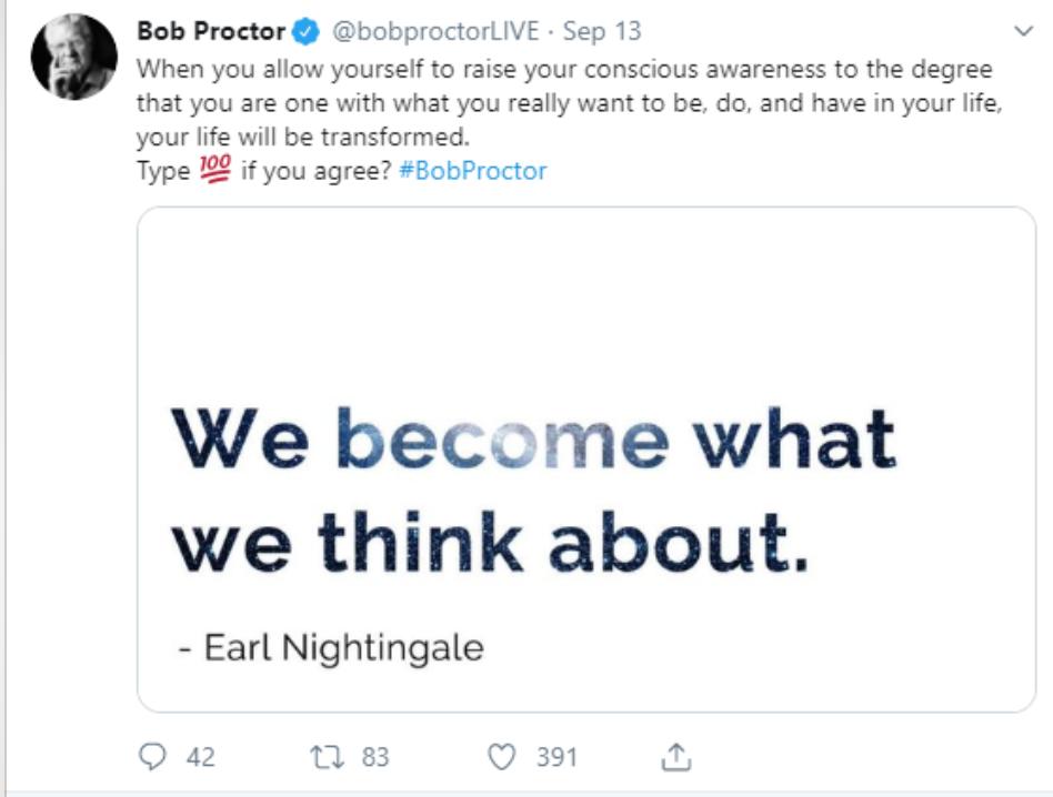 An inspirational Tweet example.