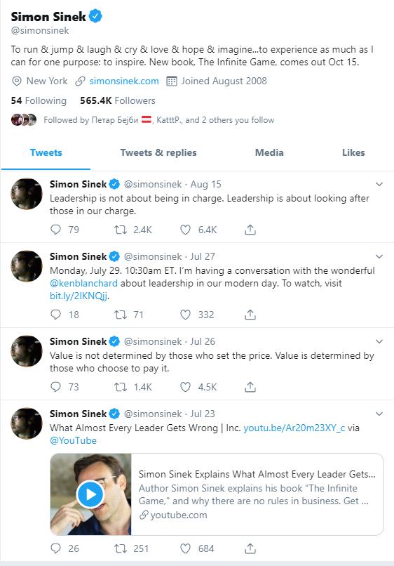 A screenshot of Simon Sinek's twitter feed.
